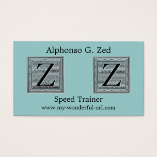 "Block Letter ""Z"" Woodcut Woodblock Initial Business Card"