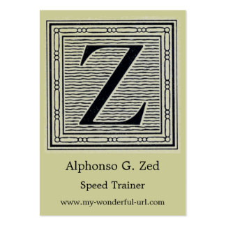 """Block Letter """"Z"""" Woodcut Woodblock Initial Large Business Card"""