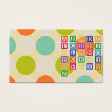 Beach Themed Block Letters Business Card