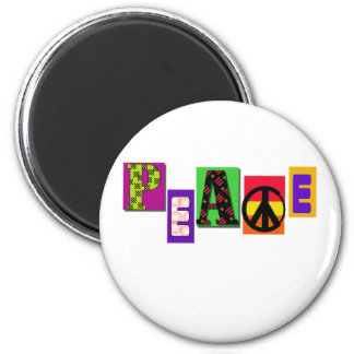 Block Letters Peace 2 Inch Round Magnet