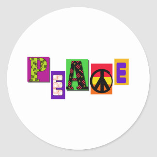 Block Letters Peace Round Stickers