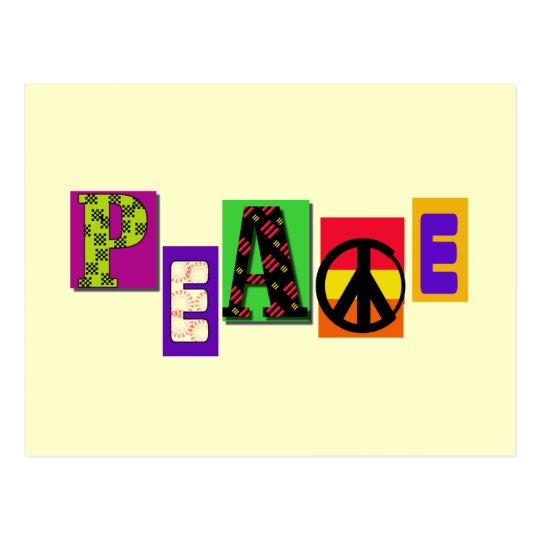 Block Letters Peace T-shirts and Gifts Postcard