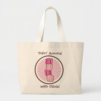 Block Letters Spell B-A-B-Y Girl  Large Tote Bags