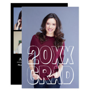 Block Letters White - 3x5 Graduation Announcement