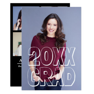 Block Letters White - Graduation Announcement