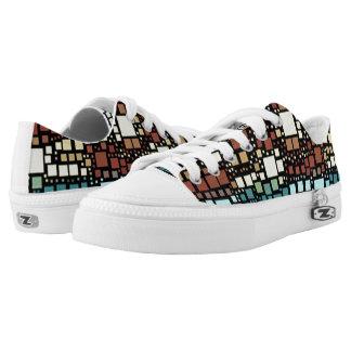 Block on block printed shoes