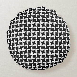 Block Over Block Black & White Pillow By CMYKEY