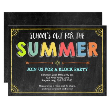 Beach Themed Block Party Summer Invitation-School's Out Card