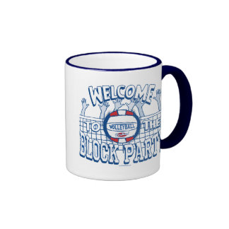 Block Party Volleyball by Mudge Studios Ringer Mug