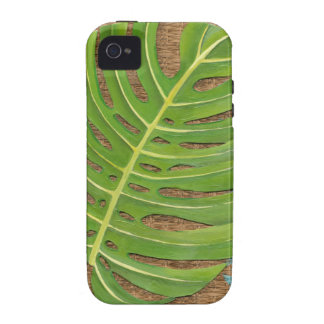 Block Print Palm on Wicker Background Case-Mate iPhone 4 Covers