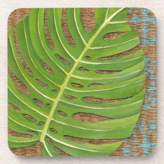 Block Print Palm on Wicker Background Coasters