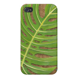Block Print Palm on Wicker Background Case For iPhone 4