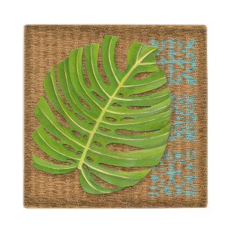 Block Print Palm on Wicker Background Maple Wood Coaster