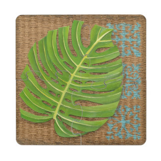 Block Print Palm on Wicker Background Puzzle Coaster