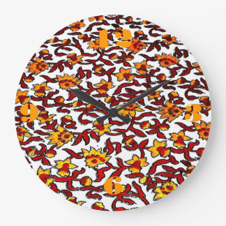 Block Print Textile w/ Red and Yellow Flowers Clocks