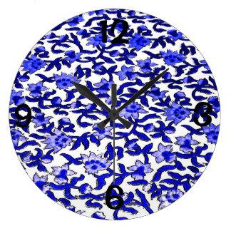 Block Print Textile with Blue Flowers Wallclock