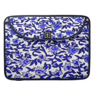 Block Print Textile with Blue Flowers Sleeve For MacBook Pro