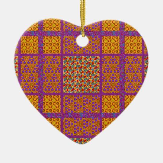 Block Quilt Pattern 2 Ceramic Ornament