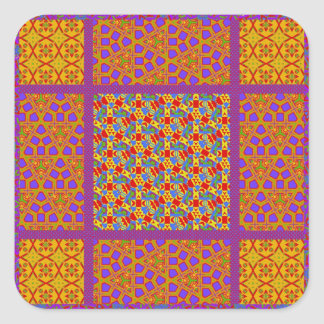 Block Quilt Pattern 2 Square Sticker