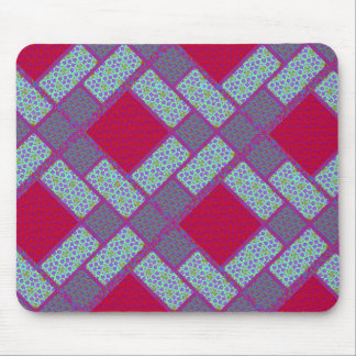 Block Quilt Pattern in Red and Blue Mouse Pad