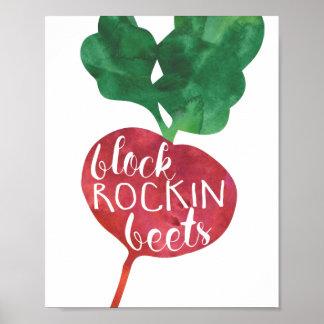Block Rockin Beets | Veggie Pun Kitchen Poster