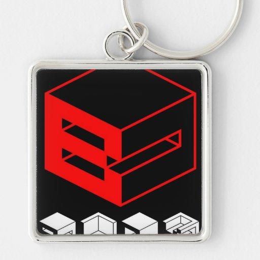 Block Silver-Colored Square Keychain