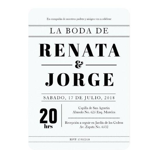 Wedding Invitations Spanish Wording: BLOCK Style Spanish Wedding Invitation