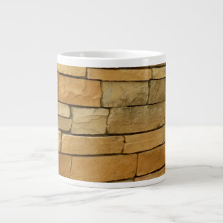 block wall overlay orangy color large coffee mug