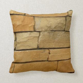 block wall overlay orangy color throw pillow