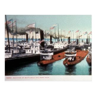 Blockade at Sault Ste Marie - Vintage Post Cards