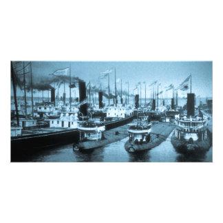 Blockade of Boats, Ste. Saint Marie Personalized Photo Card