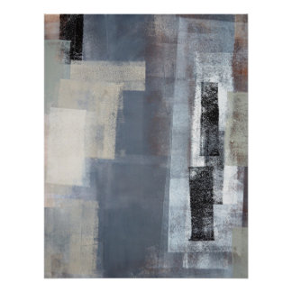 'Blocked' Grey and Beige Abstract Art Poster Print