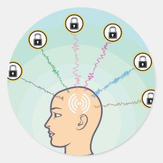 Blocked Locked Secured Brainwaves Classic Round Sticker