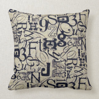 Blockprint Letters Burlap Background Pillow