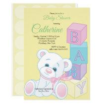 Blocks and Teddy Bear Baby Shower Invitation