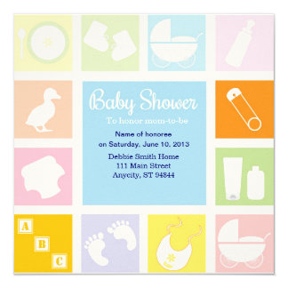 "Blocks Baby Shower Invitation 5.25"" Square Invitation Card"