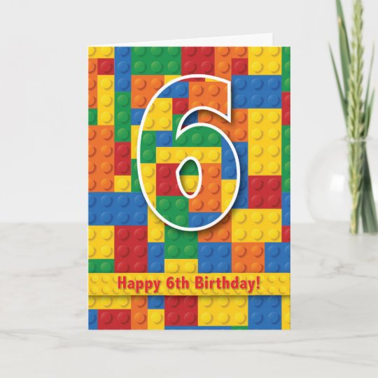 Blocks Happy 6th Birthday Card