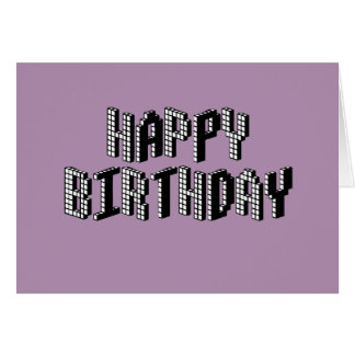 Blocks Happy Birthday (Lavender) Card