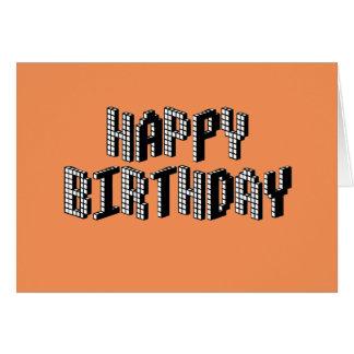 Blocks Happy Birthday (Orange) Card
