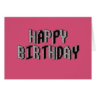 Blocks Happy Birthday (Pink) Card