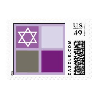 Blocks Mitzvah Purple Postage Stamps