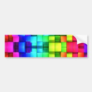 Blocks Rainbow 3d Graphics Background Bumper Sticker