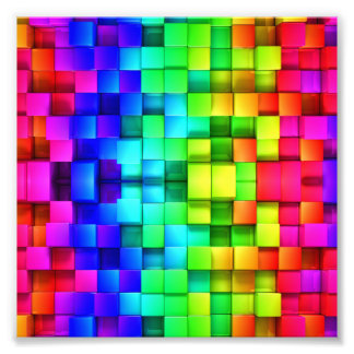 Blocks Rainbow 3d Graphics Background Photo Print