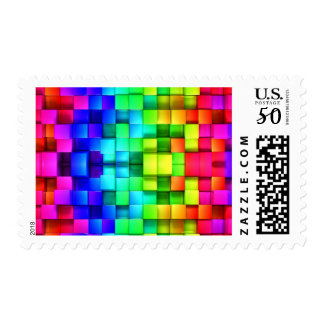 Blocks Rainbow 3d Graphics Background Postage