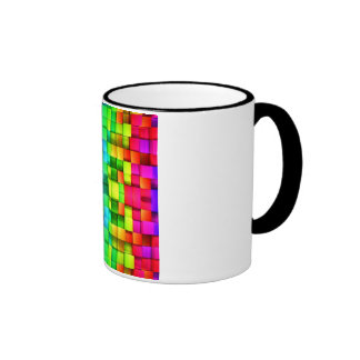 Blocks Rainbow 3d Graphics Background Ringer Mug