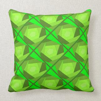 Blockwork Rose Patchwork Design Green Shades Throw Pillow