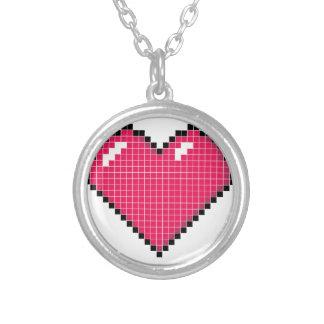 Blocky Heart Round Pendant Necklace