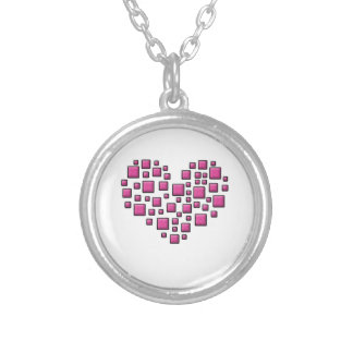 Blocky Heart Round Pendant Necklace