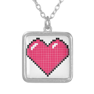 Blocky Heart Square Pendant Necklace