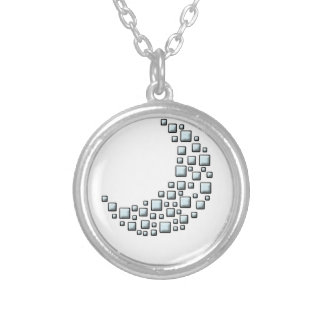 Blocky Moon Round Pendant Necklace